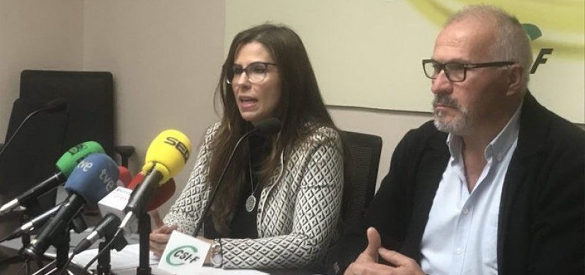 El presidente del sector nacional de Sanidad de CSIF, Javier Martínez, y la secretaria de Prevención de Riesgos Laborales del sindicato, Encarna Abascal. (Foto. CSIF)