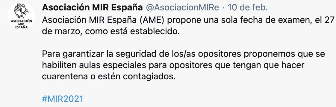 Tweet MIR España posición dos fechas de examen MIR