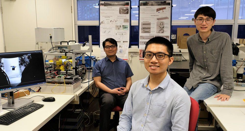 Investigadores del estudio que ha desarrollado los robots. (Foto NTU Singapore)